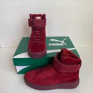 Puma Platform Mid Velvet Burgundy Women's Sneakers
